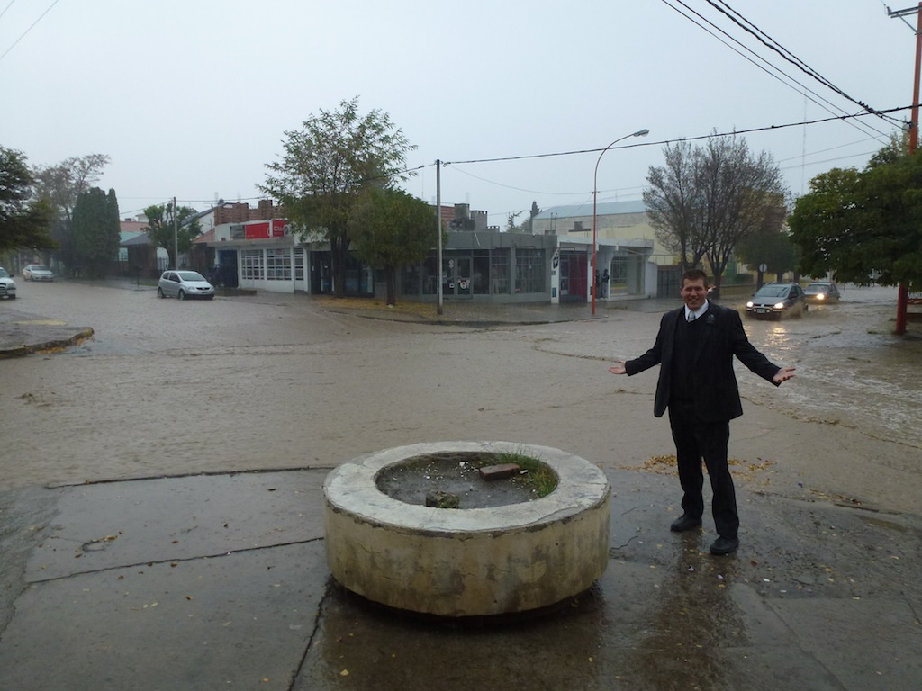 Elder Hudgins in the rain